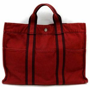 Auth Hermes Fourre-Tout Mm Tote Bag Red #7006H11